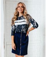 MISS IGANES BLUE&GREY QUARTER SWEATER