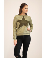 GREEN SUEDE STAR SWEATER