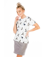 IVORY SWIFTS PRINT T-SHIRT