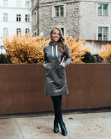 TRIANGLE HOODED DRESS GREY