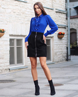 FRILL BLOUSE ELECTRIC BLUE