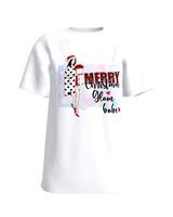 """Merry Christmas Glam Babe"" white t-shirt"