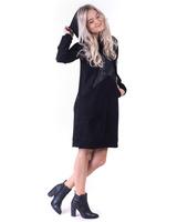 BLACK STAR SUEDE HOODED DRESS
