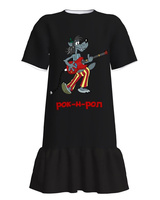 ROK N ROL PRINT DRESS WITH FRILL