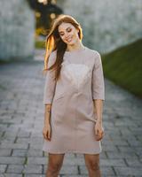SAND PINK SILVER FOX POCKET DRESS