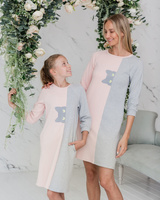 PEEK-A-BOO PRINT CAT PINK GREY DRESS