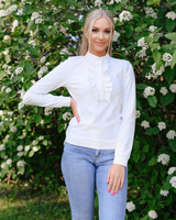 WHITE FRILL SWEATER