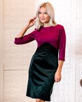 TRIO PURPLE-BLACK SUEDE GREEN VELVET DRESS