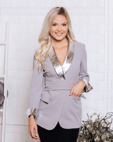 GREY SILVER DETAIL ELEGANT BELT JACKET