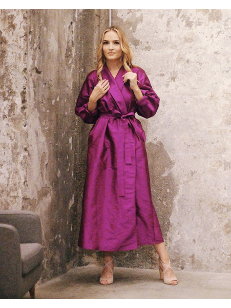 PURPLE SILK MIDI DRESS