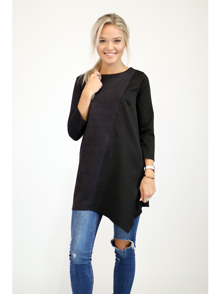 BLACK SUEDE DIAGONAL SHIRT