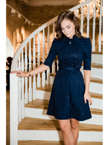BLUE BOW SUEDE DRESS