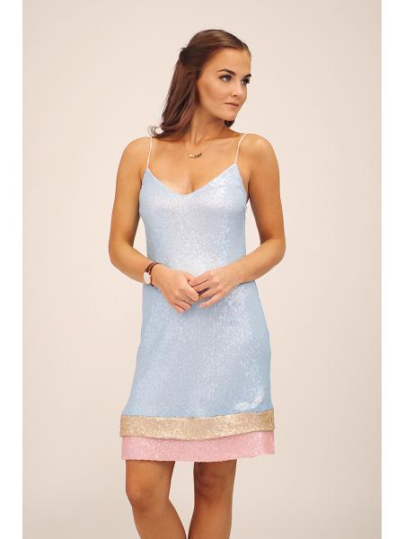 BLUE LAYER SEQUIN DRESS