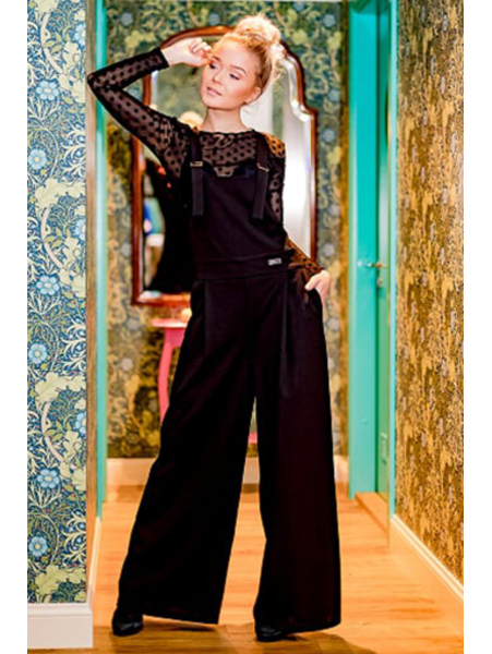 BLACK WIDE SUSPEND TROUSERS