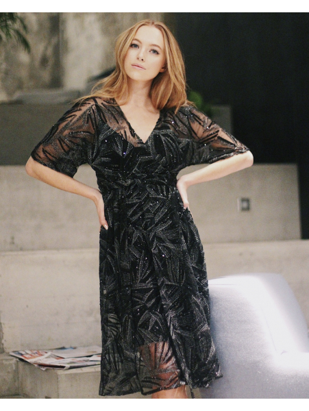 BLACK MESH MIDI WRAP DRESS
