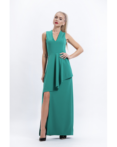 ASYMMETRIC GREEN MAXI DRESS
