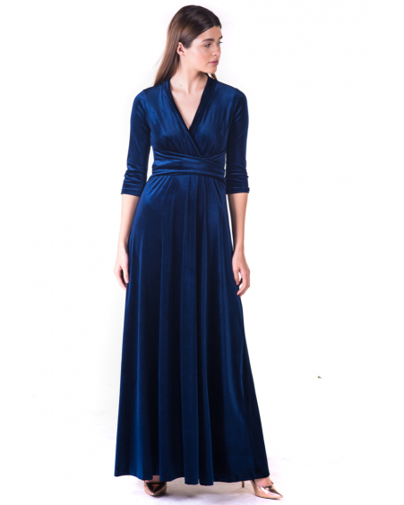 BLUE ELEGANT VELVET MAXI DRESS