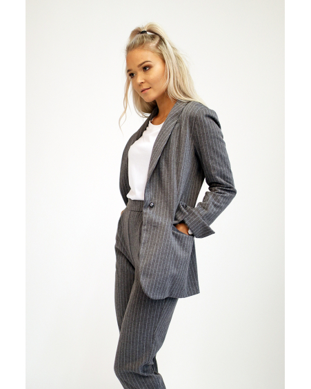 GREY STRIPE POCKET JACKET