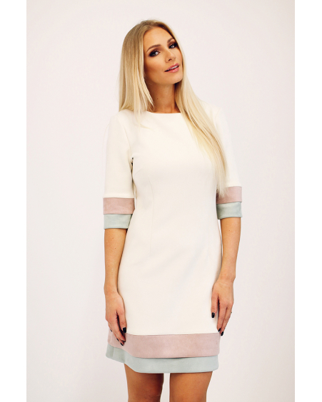 CREAM LAYERCAKE MINI DRESS