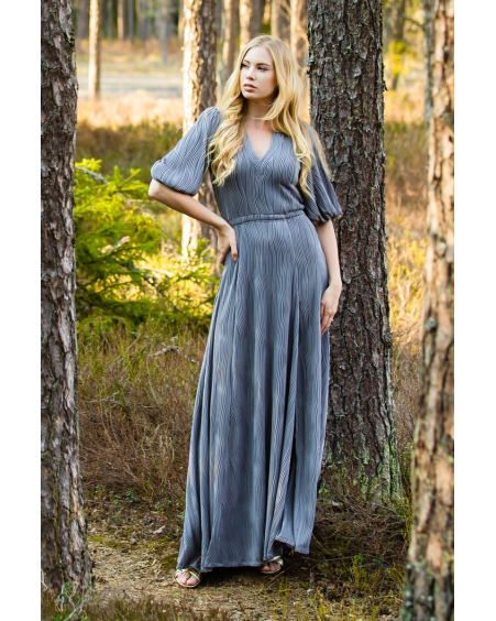 GREY OLIVIA WAVE MAXI DRESS
