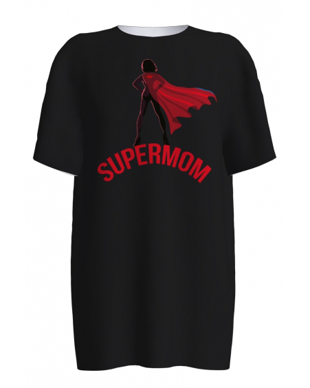 BLACK SUPERMOM PRINT T-SHIRT
