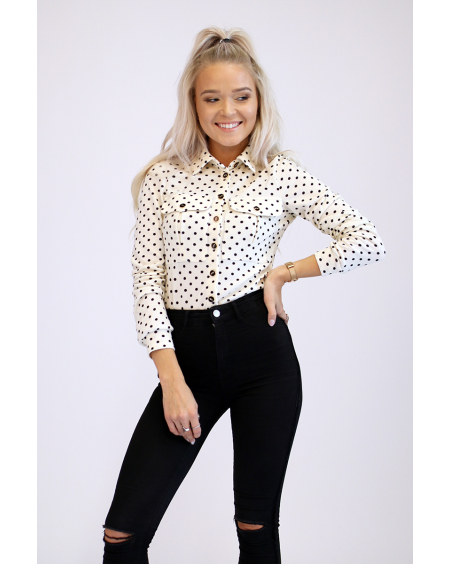 CREAMY POLKA DOT POCKET SHIRT