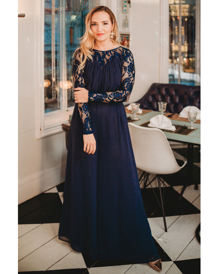 NAVY BLUE LACE WIDE LEG JUMPSUIT