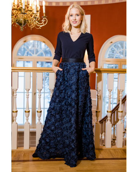 BLUE FLOWER POWER MAXI DRESS