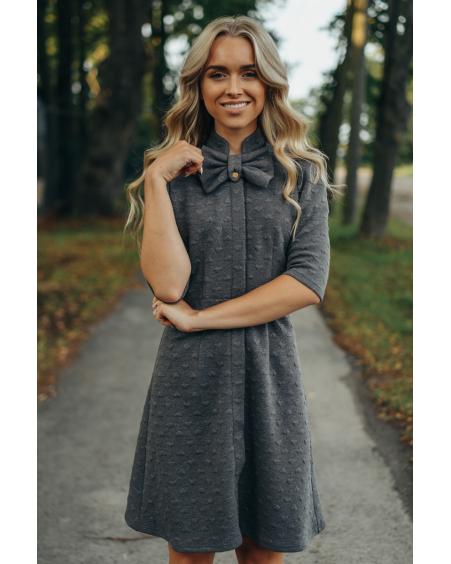 DARK GREY HEARTED BOW KNIT DRESS
