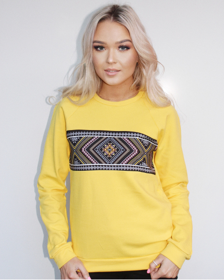 YELLOW ETHNIC SWEATER
