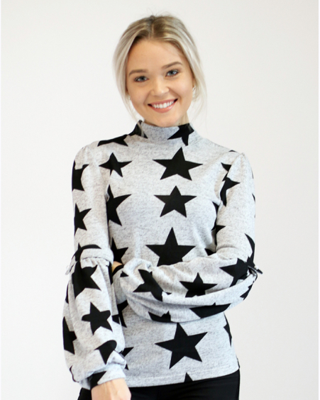 BLACK STAR HIGH NECK ALICE SWEATER