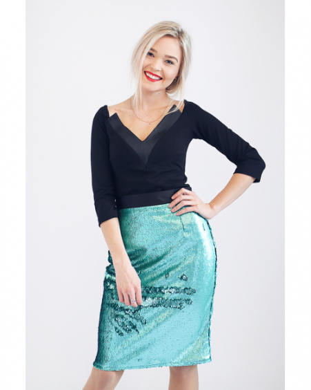 GREEN SEQUIN PENCIL SKIRT