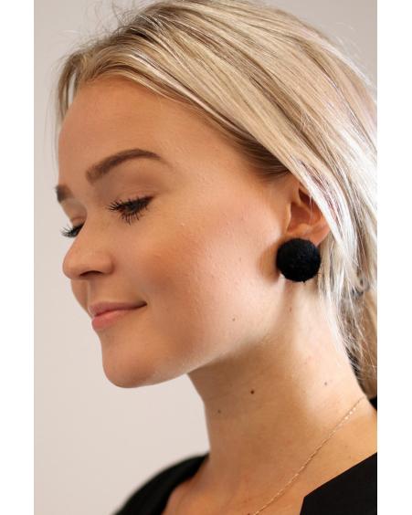 BLACK FUR DOT EARRINGS