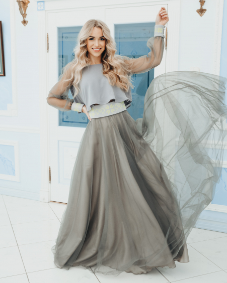 GREY MESH MAXI SKIRT LIME