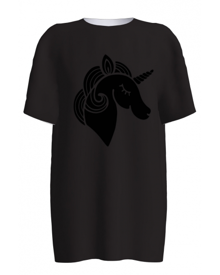 BLACK UNICORN PRINT VELVET T-SHIRT