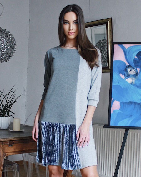 DARK & LIGHT GREY TWAIN PLEATED DRESS