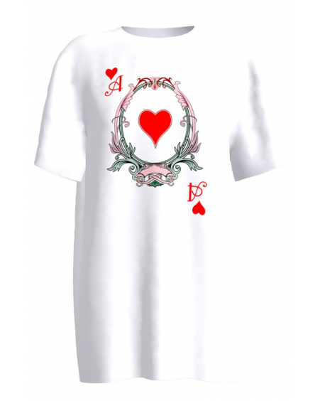 WHITE HEARTS PLAYING CARD PRINT T-SHIRT