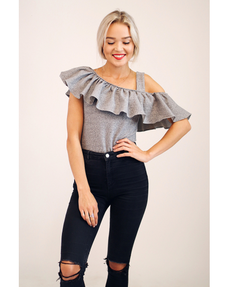 GREY ASYMMETRIC FRILL TOP