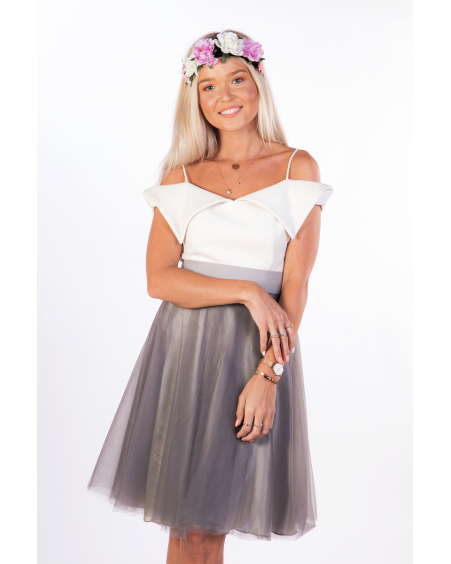 SET:GREY MESH SKIRT+COURTIER TOP