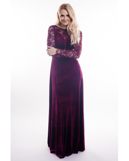 BORDEAUX LACE VELVET MAXI DRESS