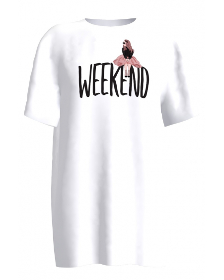 WHITE WEEKEND PRINT T SHIRT