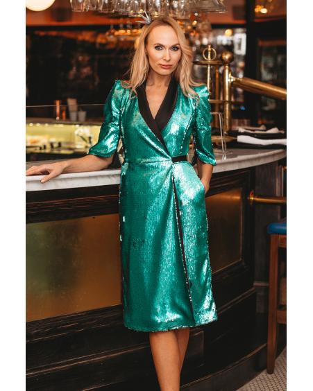 GREEN SEQUIN MOON DRESS LONGER