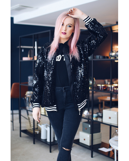 SLEEK BLACK SEQUIN BOMBER