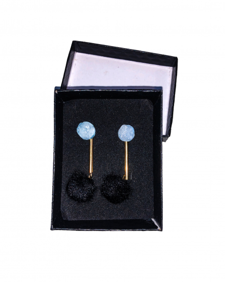 LIGHT BLUE ROCKY STONE BLACK FUR EARRINGS