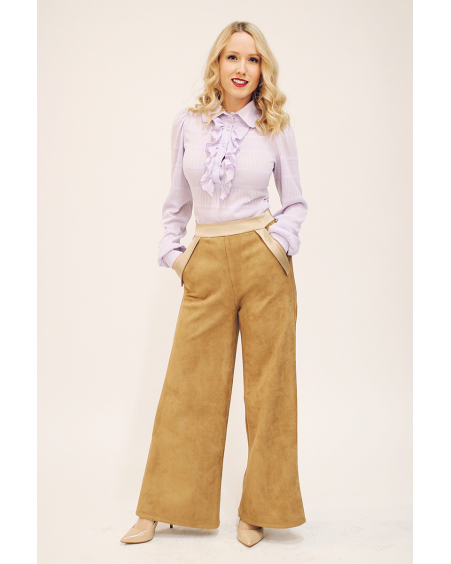 SUEDE WIDE TROUSERS