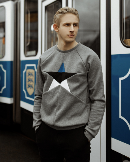 MENS ESTONIAN STAR GREY SWEATER