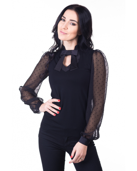 DOLLABLE BLACK CHIFFON BLOUSE