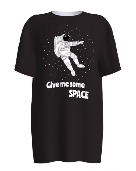 SPACE COSMONAUT BLACK PRINT T-SHIRT