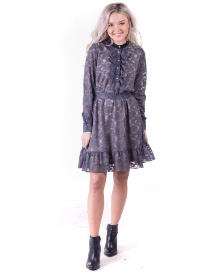 GREY LACE BLOSSOM DRESS