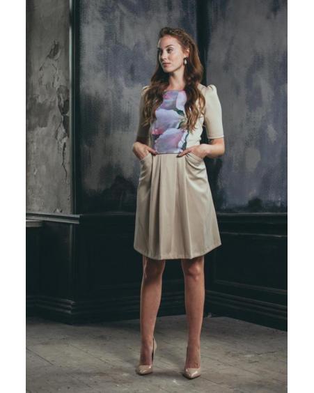 BEIGE GALLERY ARTS DRESS